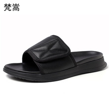 Genuine Leather slippers mens summer casual Roman sandals outside thick bottom fender men genuine leather