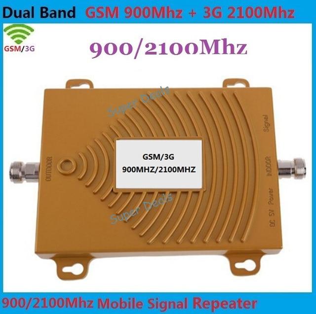 Dual band GSM 2 G 3 G WCDMA 900 / 2100 MHZ celular amplificador de sinal 3 G repetidor gsm, Cell Phone Signal Booster GSM 3 G impulsionador