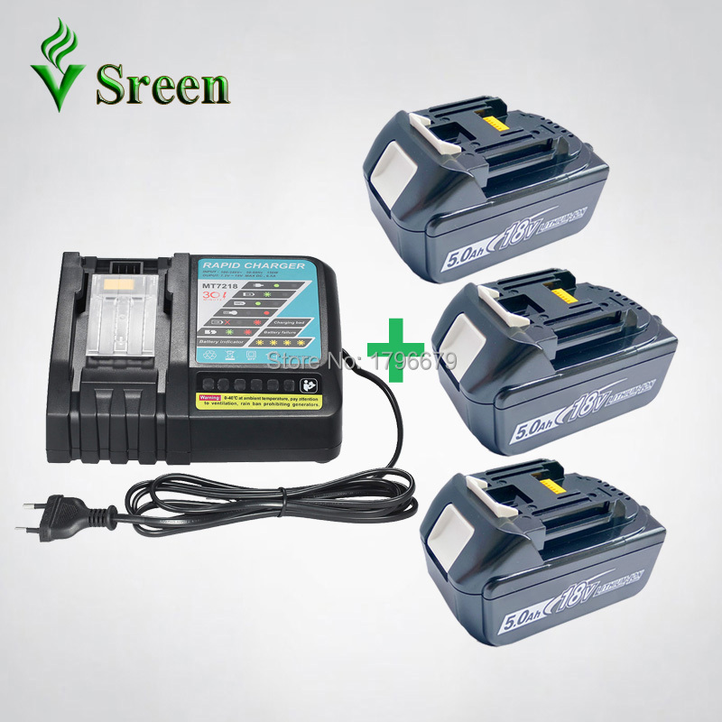 3PCS 5000mAh Li-Ion Rechargeable Power Tool Battery with Rapid Charger Replacement for Makita 18V BL1830 BL1850 BL1840 DC18RC ce testified replacement power tool rechargeable battery for bosch 14 4v li ion 3 0ah 2607335711 bat038 bat040 bat041 bat140