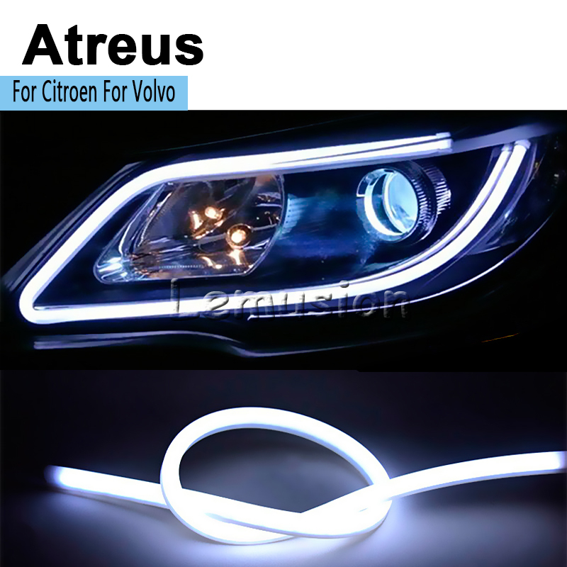 Atrée Voiture-style 60 cm Voiture Flexible Feux de jour LED DRL lampe Pour Citroen C4 C5 C3 C2 volvo XC60 XC90 S60 S80 V70 S40