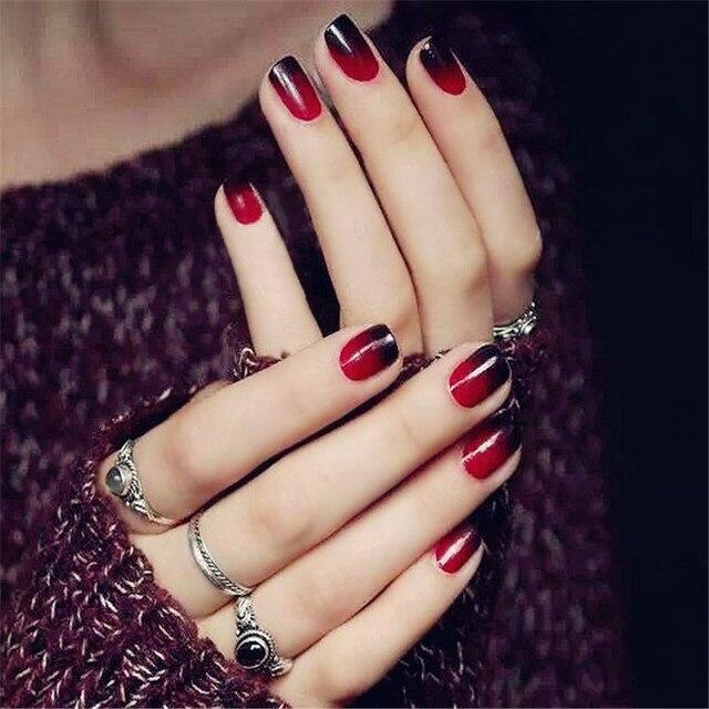 24pcs Black Red Gradient Short Nail Art Round False Nails Full