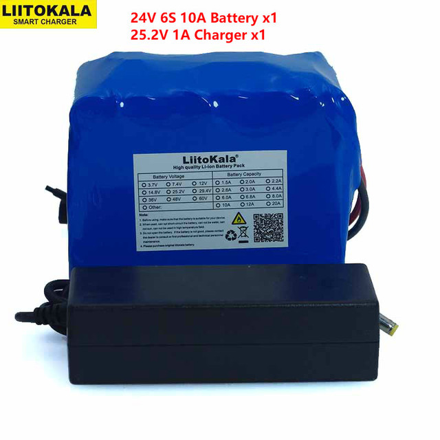 LiitoKala 24V 10Ah 6S5P 18650 Battery li ion battery 25.2v 10000mAh electric bicycle moped /electric battery pack+2A Charger