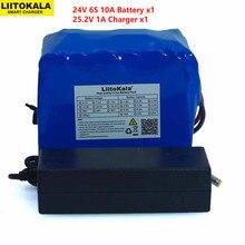 LiitoKala 24V 10Ah 6S5P 18650 batteria batteria agli ioni di litio 25.2v 10000mAh bicicletta elettrica ciclomotore/batteria elettrica caricabatterie 2A