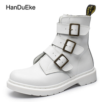 2017 New Autumn Cool Female Boots Red White Black 3 Colors Retro Genuine Leather Personality Buckle
