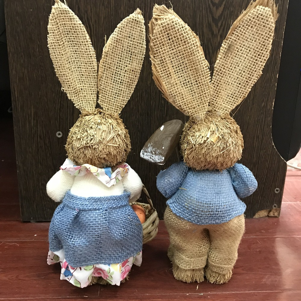 H35cm 2pcs lot cute Greeting Easter rabbit and bunny series straw handicraft suspends the pastoral idyllic wedding decoration in Figurines Miniatures from Home Garden