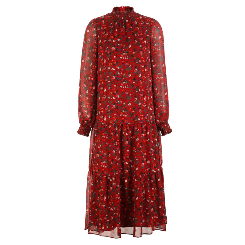 Longue Imprimé Soie Femmes Automne Zvaqs Blue Mode Douce Small red Mujer Robe Casual Flower red 2018 Manches Mousseline St626 Hiver Flower Robes En Longues De Big Dark Floral Maxi Owwad8