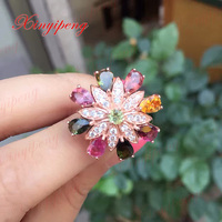 925 Sterling Silver With 100 Natural Tourmaline Ring Women With Luxury And Generous A Wedding Gift