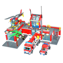 Model building kits compatible with lego Kazi City Fire Station 3D blocks Educational model building toys hobbies for children