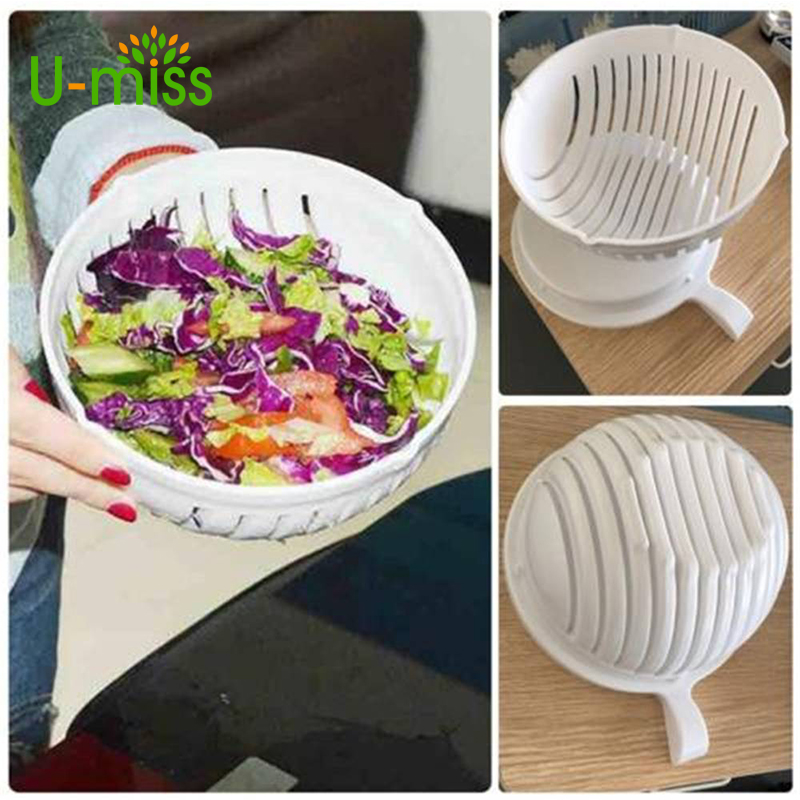 U-miss60 Second Vegetable Cutter Bowl Salad Maker Healthy Fresh Salads Washer and Cutter Quick Salad Maker Chopper