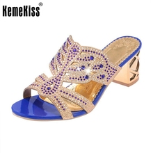 Bohemia Lady High Heel Sandals Hallow Out rhinestone Slipper Peep Toe Shoes Women Party Beach Vacation Footwear Size 35-39