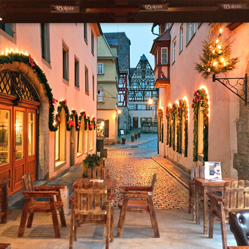 Romantic European Street City Night Landscape Photo Wallpaper Mural Cafe Dining Room Backdrop Modern Fashion Decor 3D Wallpapers 自宅 ワイン セラー