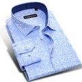 Caiziyijia 2017 hombres 100% algodón de la impresión floral botón camisa de manga larga soft comfort causal delgado-fit camisas ropa de los hombres