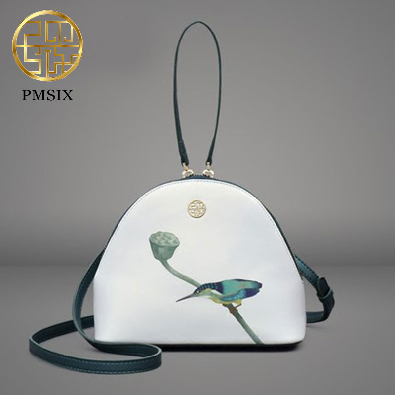 PMSIX 2019 High Quality realer Leather Women Messenger Bag Famous Brand Luxury handbags Kingfisher Printing ladies'Crossbody Bag-in Bandoulière Sacs from Baggages et sacs    2