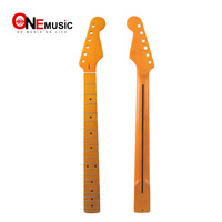 22 Fret Yellow Gloss Maple Guitar Neck Left hand Maple Fingerboard with Black Dot for ST FD Electric Guitar Replacement