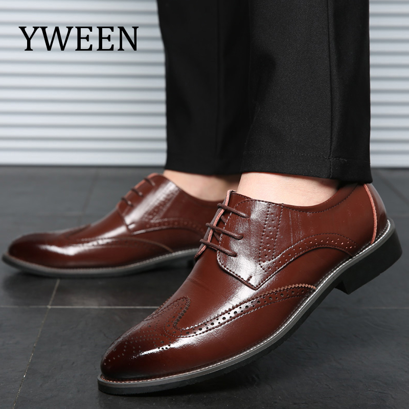 YWEEN New Men's Dress Shoes Lace up Men Brogue Shoes Business Leather ShoesFor Men Large Size Shoes yween new men brogue dress shoes with lace up business leather shoes large size