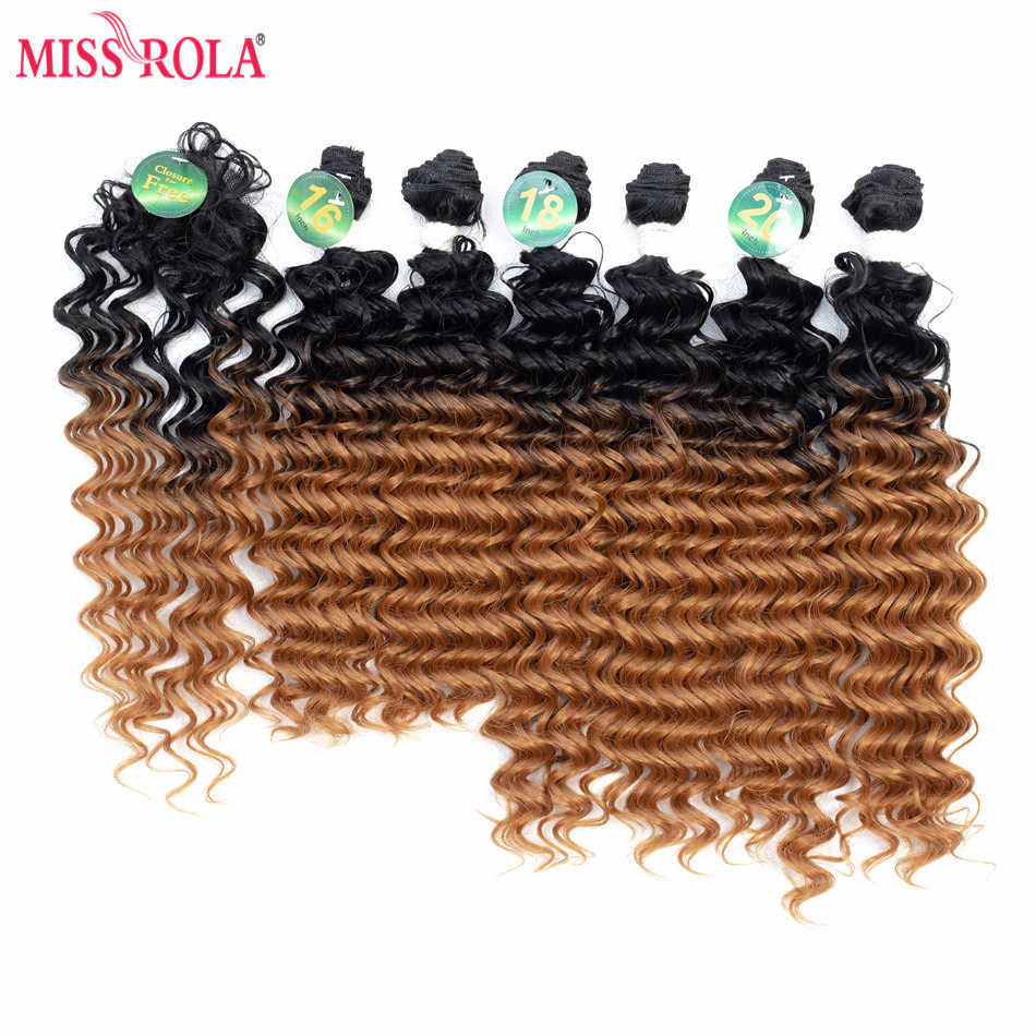 Miss Rola Ombre Synthetic Hair Extensions Deep Wave Hair Weaves 18-20 inch 6pcs/Pack 200g Kanekalon Hair Wefts for Women