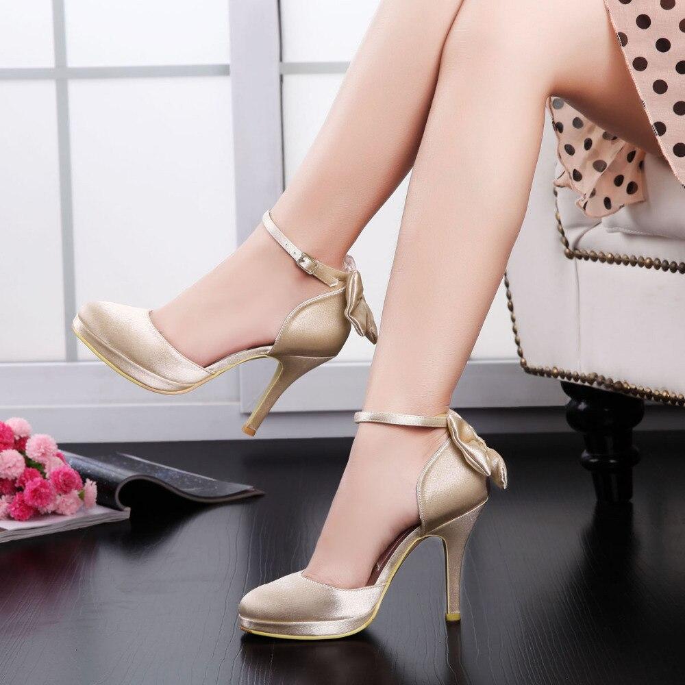 Champagne Elegant AJ091 PF Round Toe Shoes Ankle Strap Bow Platform 4