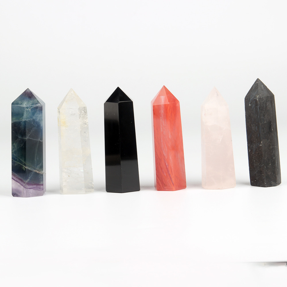 Natural 75*20mm Fluorite Black Obsidian Carving Scepter Healing Crystal Wand Point Chakra Reiki Healling Stone Carved Free Pouch 6pcs natural fluorite quartz crystal wand point healing