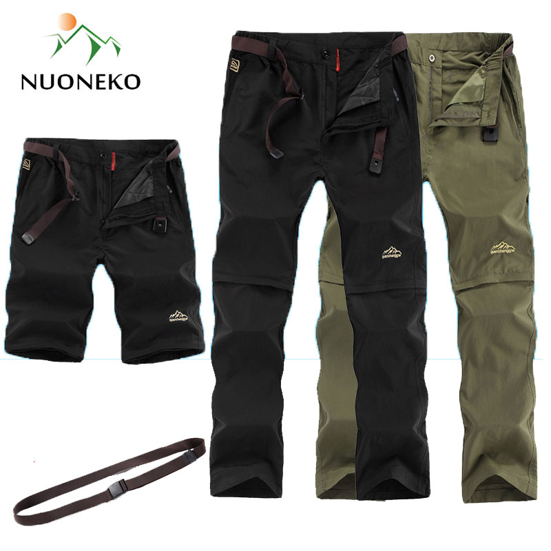 NUONKEO 2019 Outdoor Quick Dry Hiking Pants Men Summer Removable Men's Sports Shorts Camping Trekking Waterproof Trousers PN10