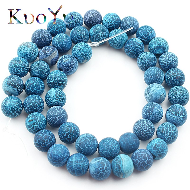 Natural Stone Frost Dark Blue Cracked Dream Fire Dragon Veins Agates Onyx Beads 6/8/10mm Round Loose Beads For Jewelry Making