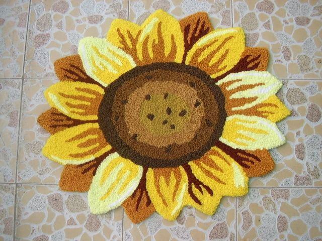 Tournesol Floral en forme de paillasson fait main tapis anti-dérapant tapis de sol coloré personnalisé tapis personnalisé tapis d'extérieur 2x2