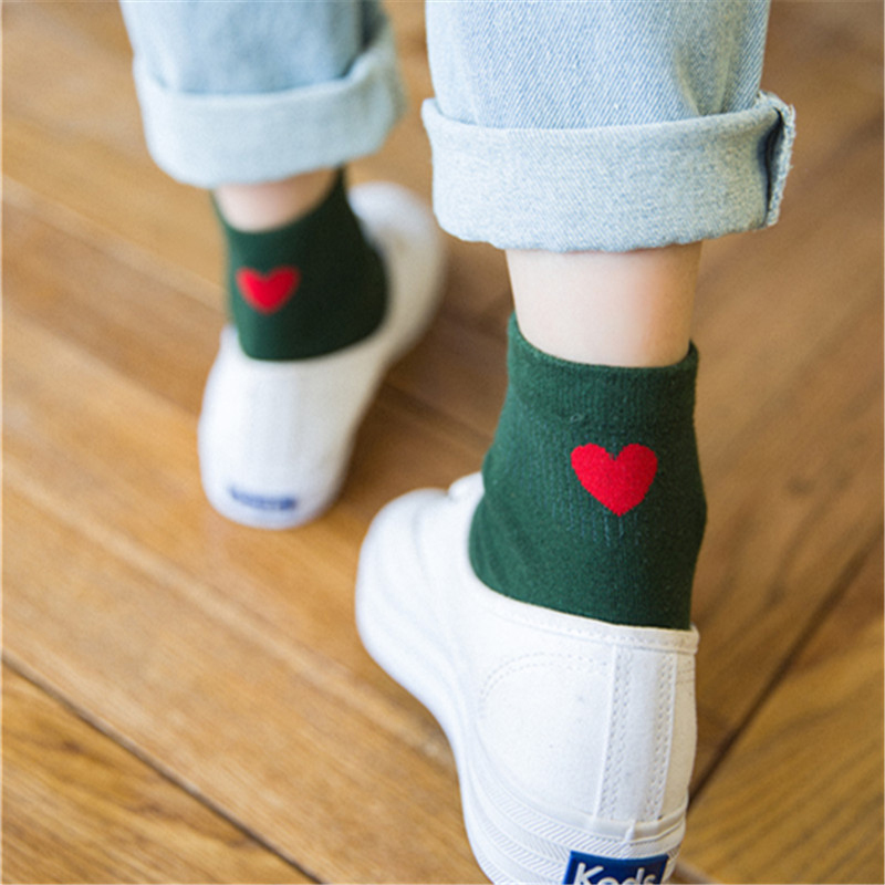 New Fashion Women Short   Socks   Cute Red Heart Printed Ladies Ankle   Socks   Girls Breathable Casual Solid Comfy Cotton Sokken Meias