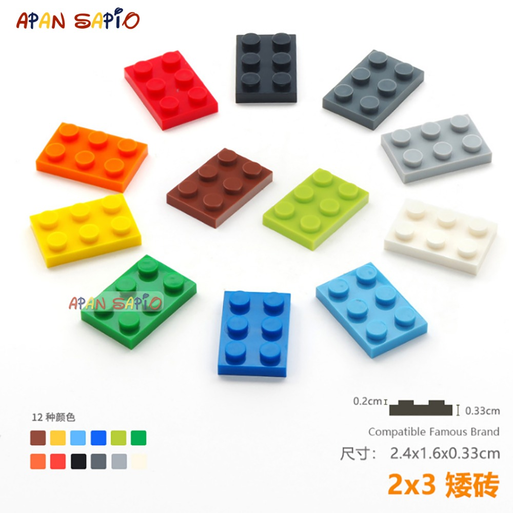 20pcs/lot DIY Blocks Building Bricks Thin 2X3 Educational Assemblage Construction Toys For Children Size Compatible With Lego