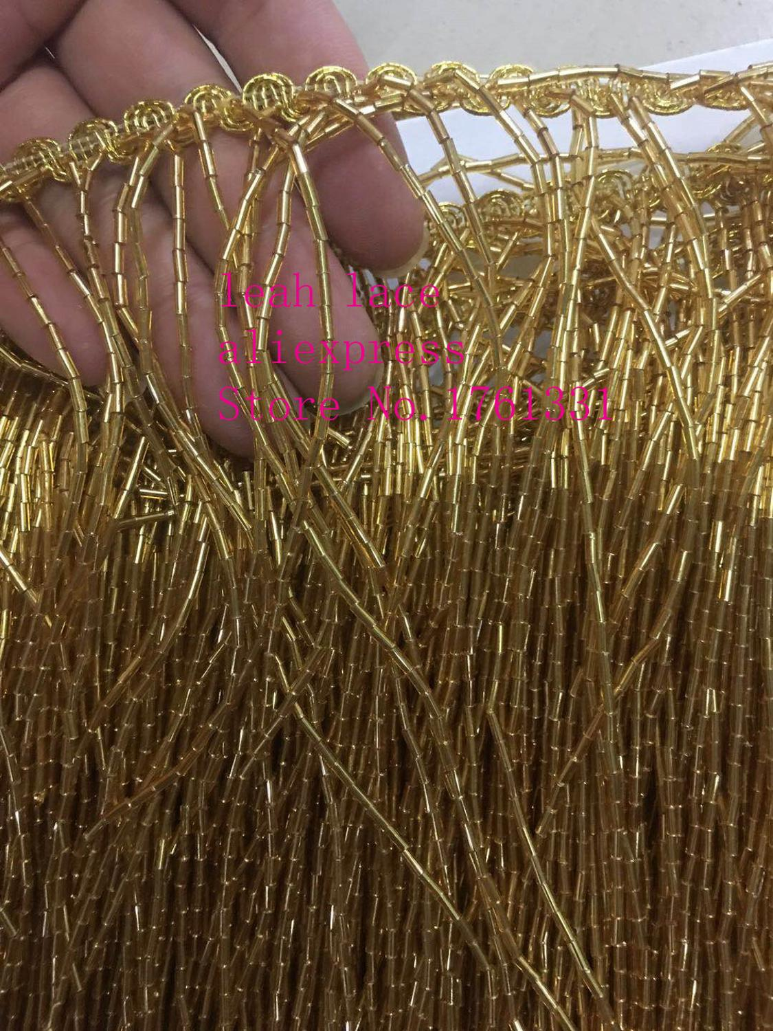 stock 5yards/bag 30 cm golden tassel bead tube curved belt used for fashion stage decoration dress accessories