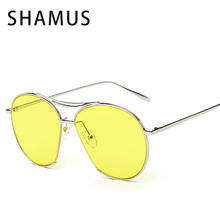 Shamus Brand Sunglass With Bag UV400  Pilot Sunglasses Women Eyewear Yellow lense Sun Glasses Vintage Eyeglasses 2017