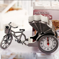 Creative vintage rickshaw alarm clock student desktop ornaments plastic bedside clock New Year gifts WL5111536