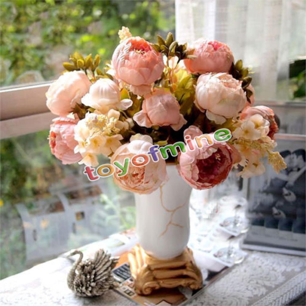 Home Wedding Party Decor Artificial 1 Bouquet 8 Head Peony Silk