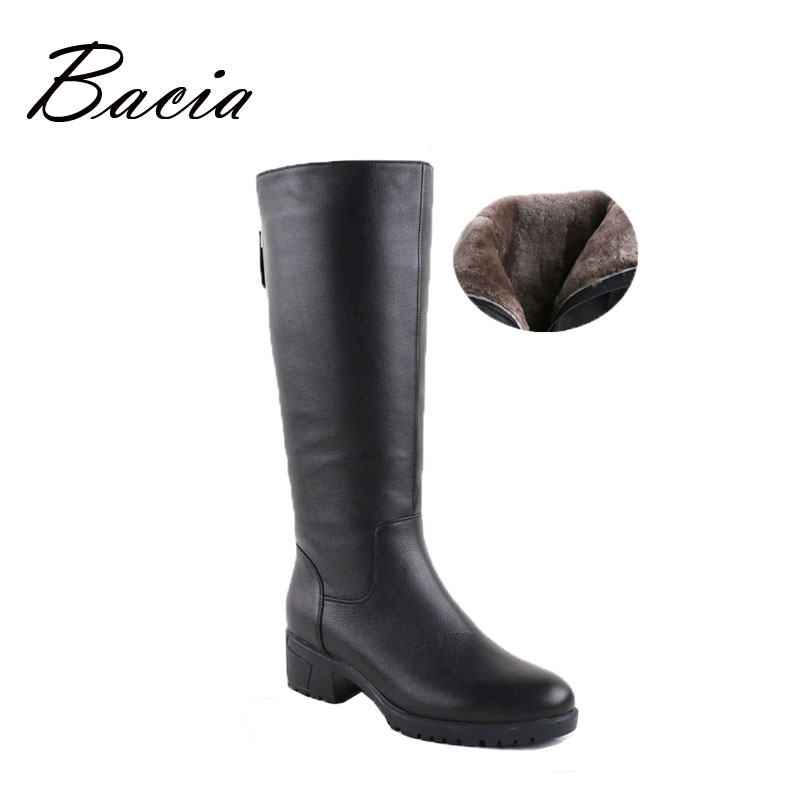 Bacia Winter Boots Wool Fur Inside Warm Shoes Women Luxury Genuine Leather Shoes Handmade Russia Boots Footwear Botas VB031 bacia russian original design boots knee high platform boot genuine leather quality shoes handmade footwear women botas vc001