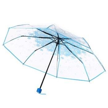 Transparent Clear Umbrella Mushroom Apollo 3 Fold Umbrella Paraguas Plegable Transparente Clear Umbrella Mens Gifts WZP141