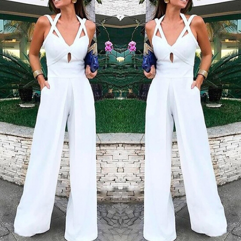 New Sexy Bodycon Bodysuit Women White Lace up Sexy   Jumpsuit   Solid Color Loose One piece romper Overalls party Playsuit Female
