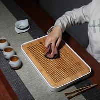 Home Kung Fu Bamboo Small Tea Tray Small Dry Bubble Dish Bamboo Japanese style Rectangular Tray TeawareTea Ceremony Accessories