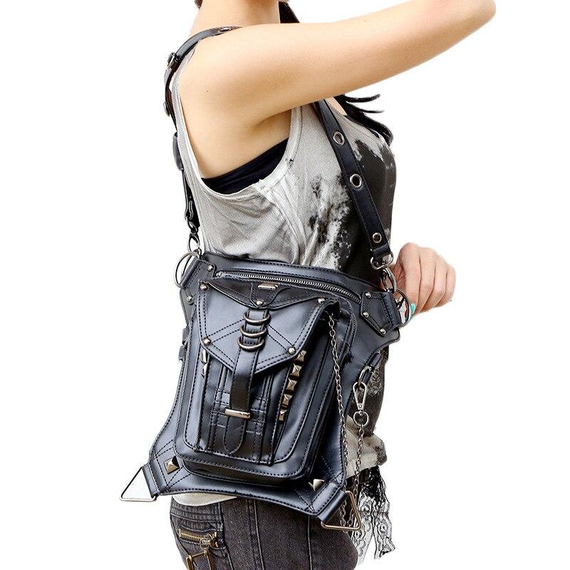Högkvalitativa kvinnor PU läder droppe ben väska punk rock väska - Bälten väskor - Foto 4