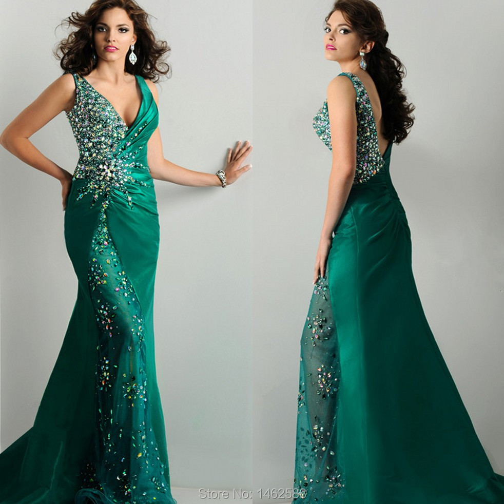 de332cebd New Sparkly Crystal Beaded V Neck Emerald Green Evening Gowns Long Mermaid Prom  Dresses 2015 Robe De Soiree Elegant