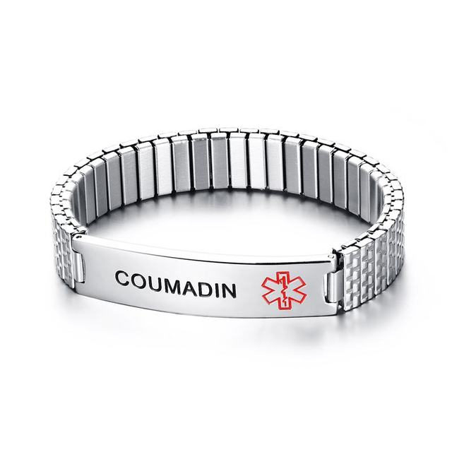 Stainless Steel Medical Alert Id Tag Stretch Bracelet Bangle For Women Engraving Coumadin Warfarin Epilepsy
