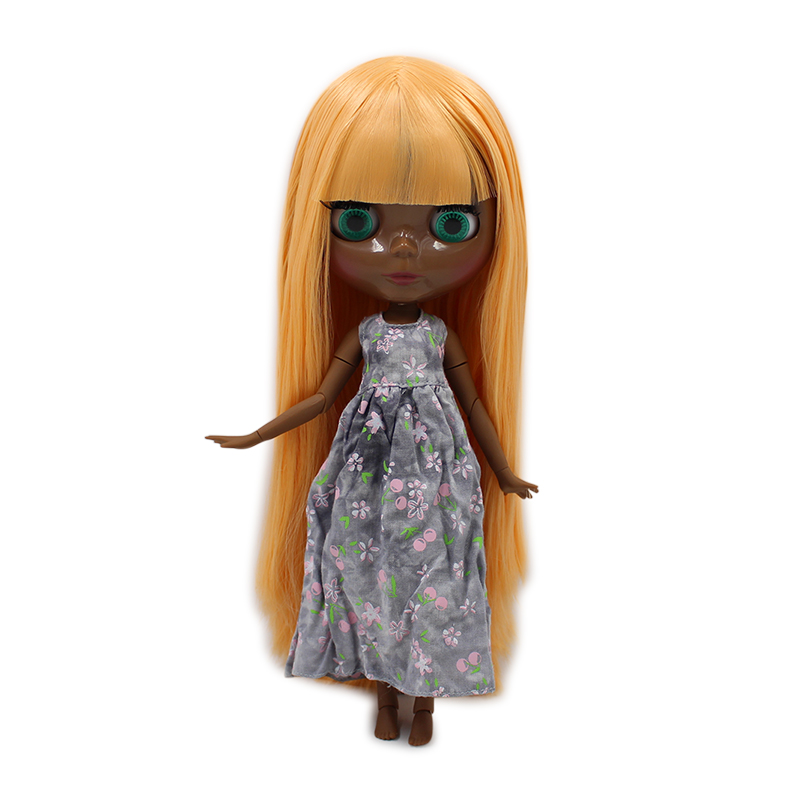 factory blyth doll super black skin tone darkest skin mango yellow hair with bangs joint body