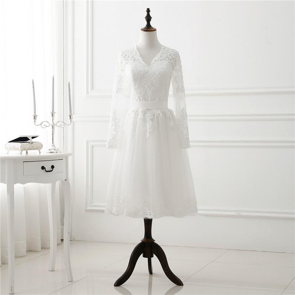 1905 s Vintage White Short Wedding Dress Long Sleeve Lace Tulle Women Bridal Party Dresses Tea