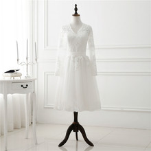1905s Vintage White Short Wedding Dress Long Sleeve Lace Tulle Women Bridal Party Dresses Tea Length Gown Spring New