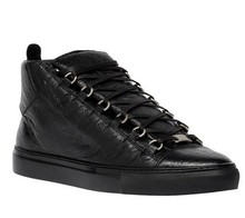 Men's Paris Classic High-top Creased Leather Trainers Black Genuine Leather Shoes With Tone-on-tone Laces And Rubber Sole Flats