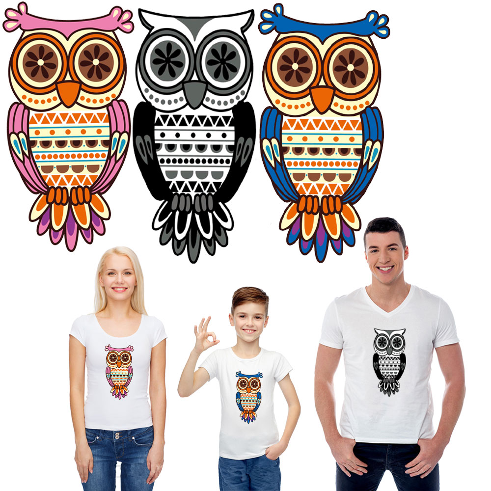 Cute cartoon OWL iron on patches for clothes transfert thermocollants heat transfer pyrography decoration printing washable