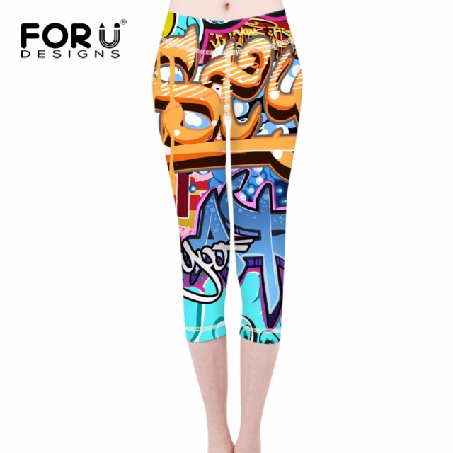 1ac6525ffd40f8 FORUDESIGNS Elastic Women Leggings 3D Graffiti Prints Woman Fitness Legging  For Teen Girls Slim Bodybuilding Ladies Pencil Pants