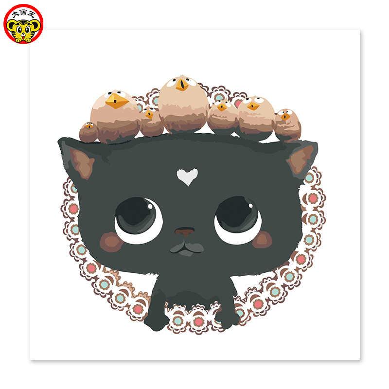 Цифровая картина маслом Принцесса Черный кот драгоценный камень ожерелье Прекрасный милый