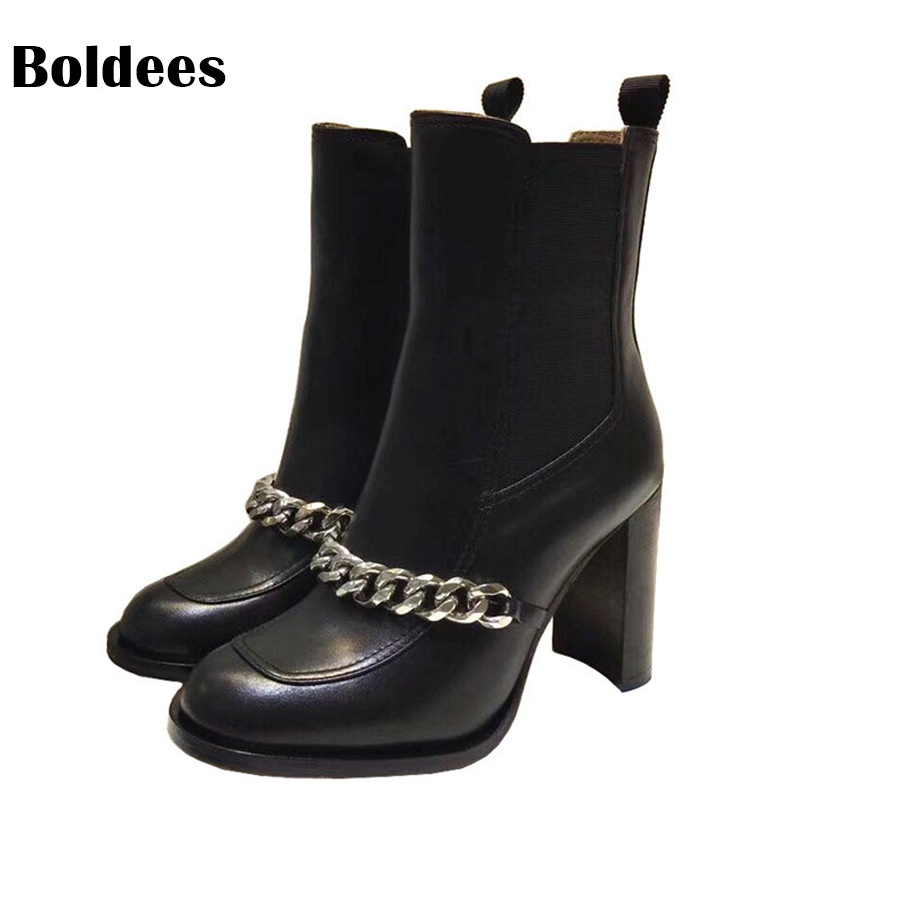 Winter Silver Chains Ankle Boots Woman Round Toe Black Leather High Heel Shoes Women Fashion Star Chelsea Short Boots 2018 fashion cow leather zipper superstar winter boots women round toe low heel solid concise pregnant chelsea ankle boots l08