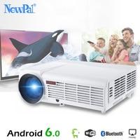 5500 люмен 3D дома проектор высокого разрешения поддержка 1920*1080 пиксели видео ТВ Wi Fi Android6.0 проектор с бесплатной 100 дюйм(ов) экран