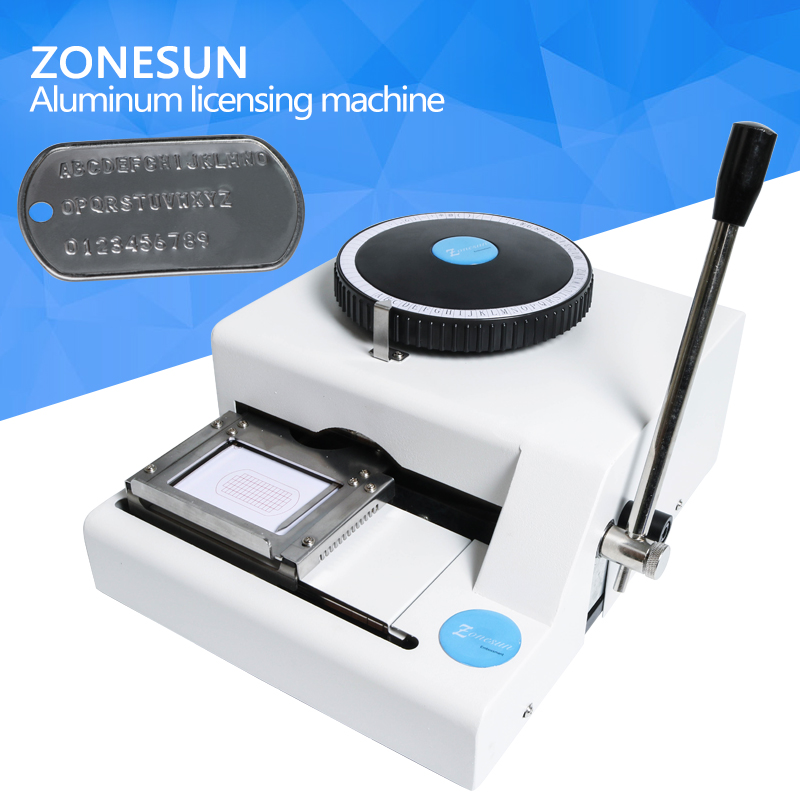 ZONESUN Embossing Machine Dog Tag engraving Stainless Steel Metal Machine Number Plate 52 letters Characters