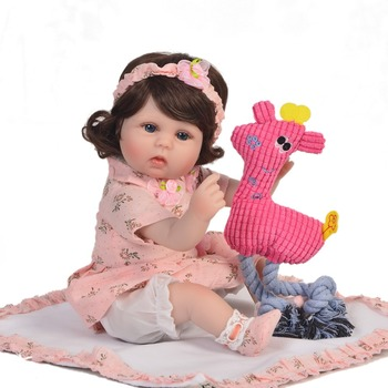 """Bebes reborn silicone baby reborn dolls toys for child gift 18""""42cm curly hair girl doll classic play house toys boneca reborn"""
