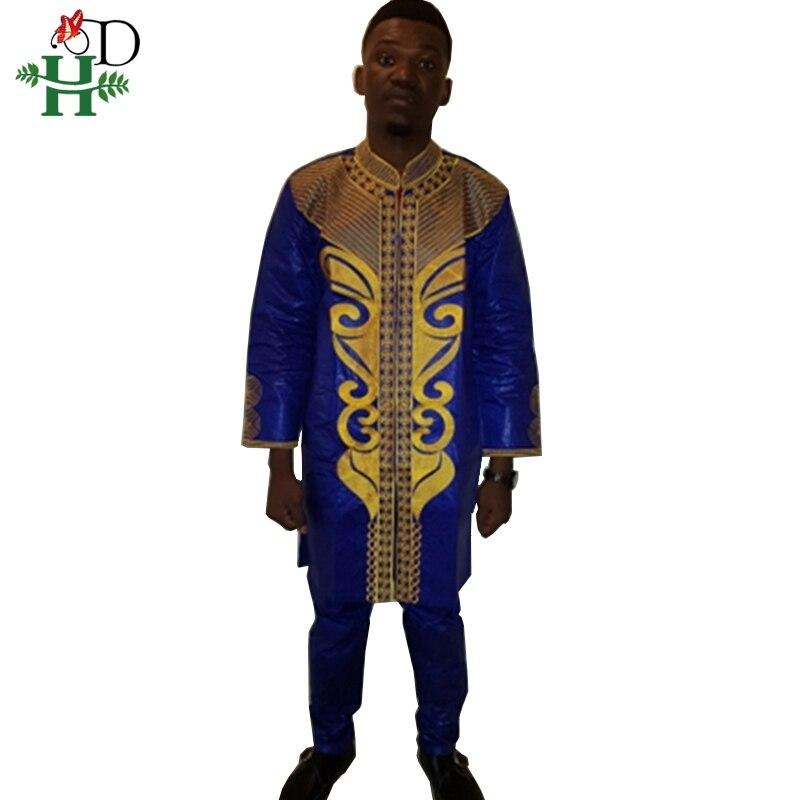 PH38 Dashiki Men Outfit African Clothing Mens African Clothing Bazin Clothes Riche Embroidery African Men Top Pant Suits Set
